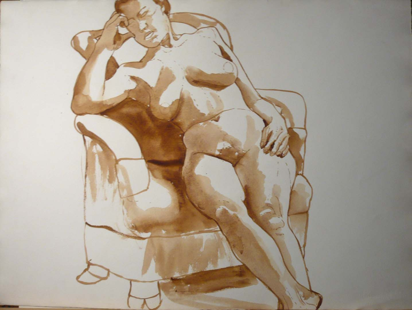 "Leaning Woman in Armchair Sepia 22.25"" x 30"""