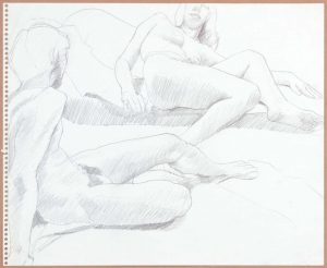 Male Leaning Back Facing Female Pencil 13.75 x 16.875