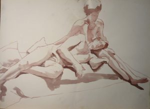 Male Leaning on Female Leg Sepia Wash 22 x 29.875