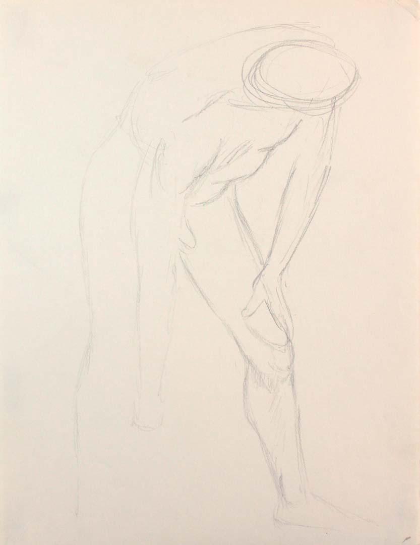 Male Model Bending Forward Pencil 12 x 9