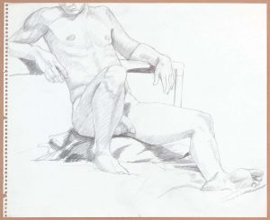 Male Model Leaning Back with Leg Outstretched Pencil 17 x 13.75