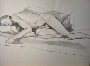 Male Model Reclining on His Side Black Wash 22 x 29.875
