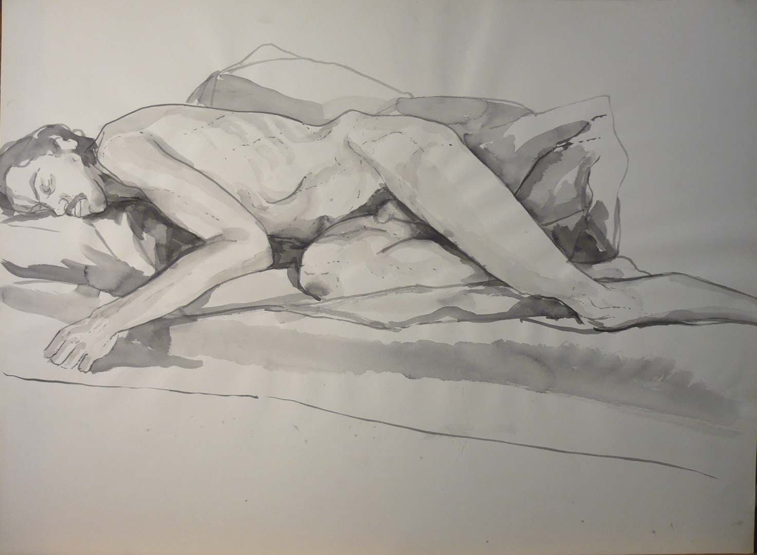 "Male Model Reclining on His Side Black Wash 22"" x 29.875"""
