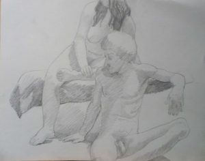 Male Model Seated in Front of Female Model Pencil 18.875 x 24
