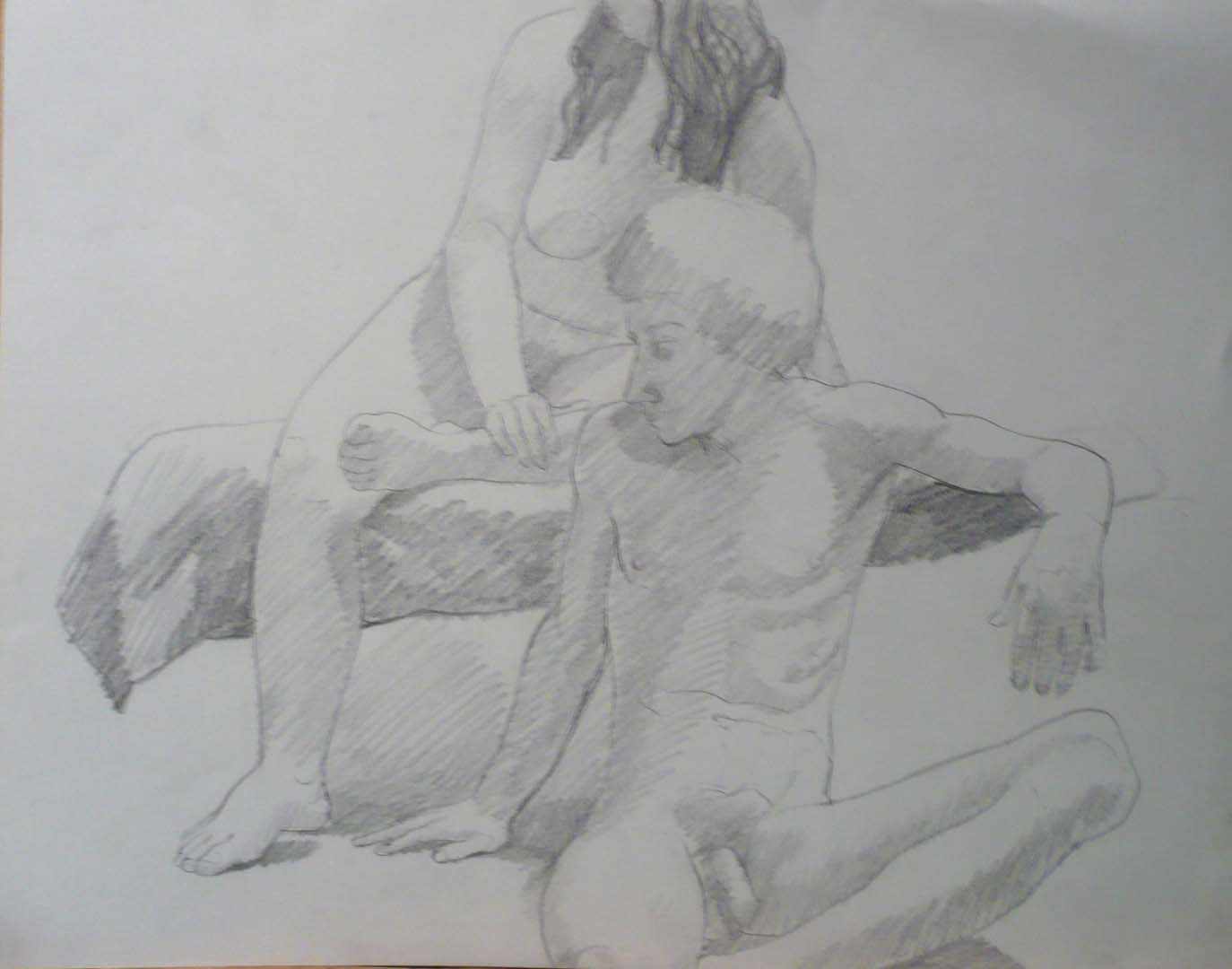 "Male Model Seated in Front of Female Model Pencil 18.875"" x 24"""