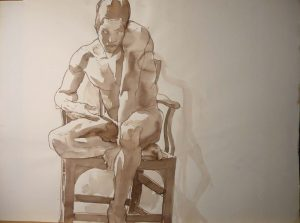 Male Model Seated on Chair Sepia 22 x 29.875