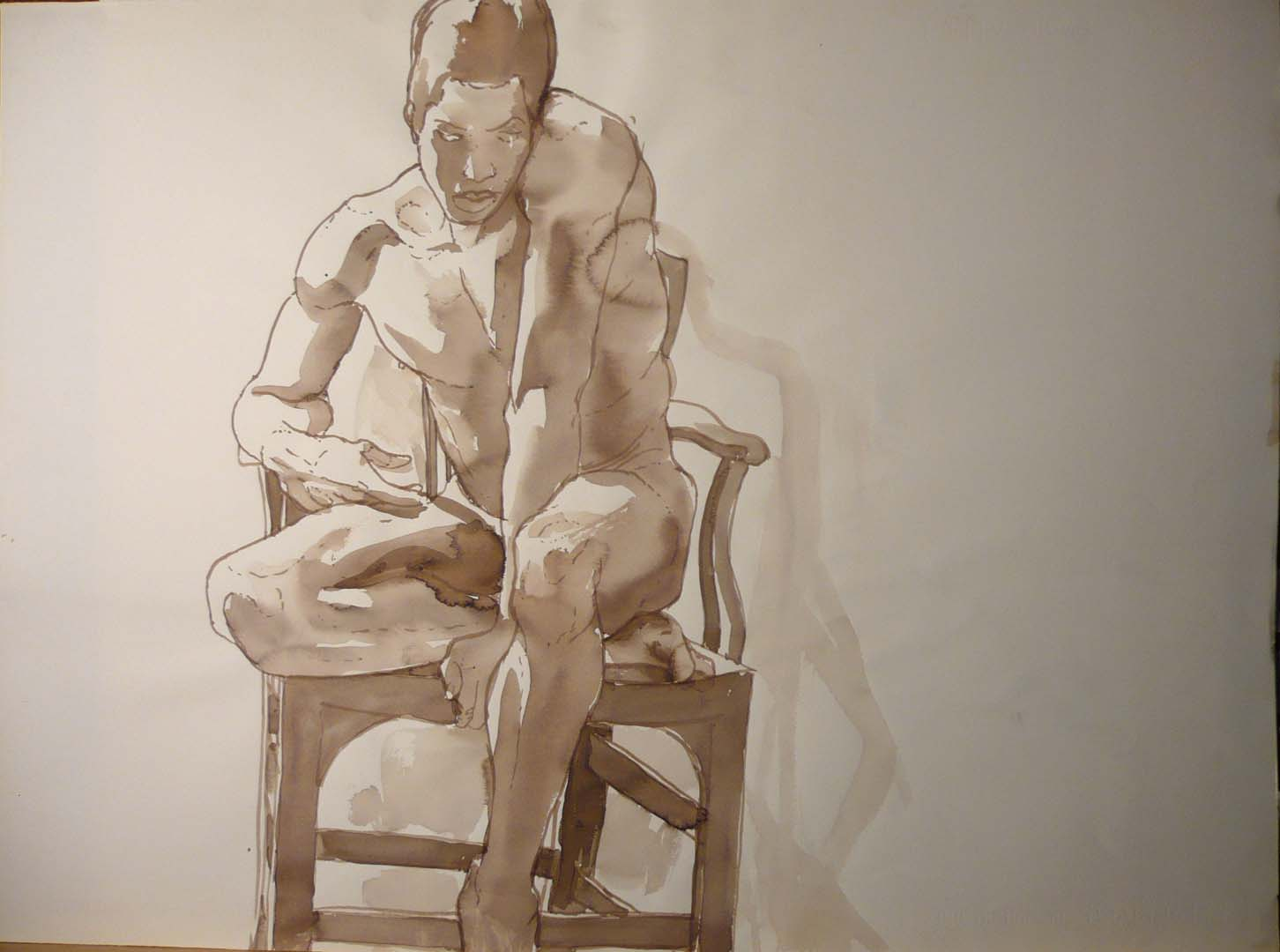 "Male Model Seated on Chair Sepia 22"" x 29.875"""