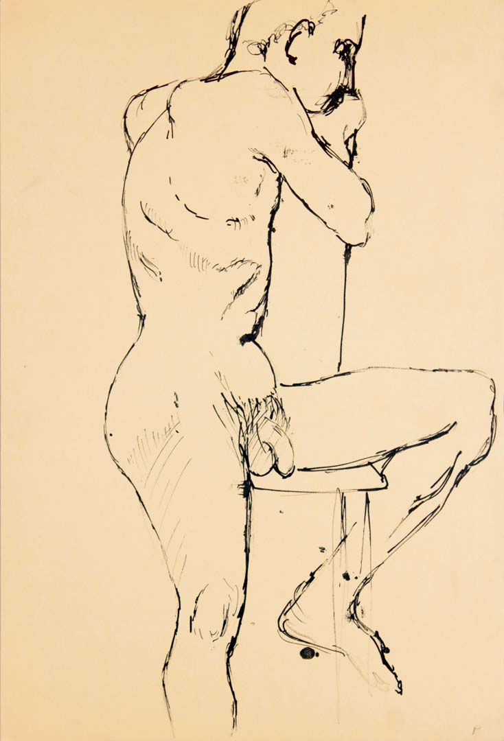 Male Model Seated on Chair with One Leg Extended Ink 17.875 x 12