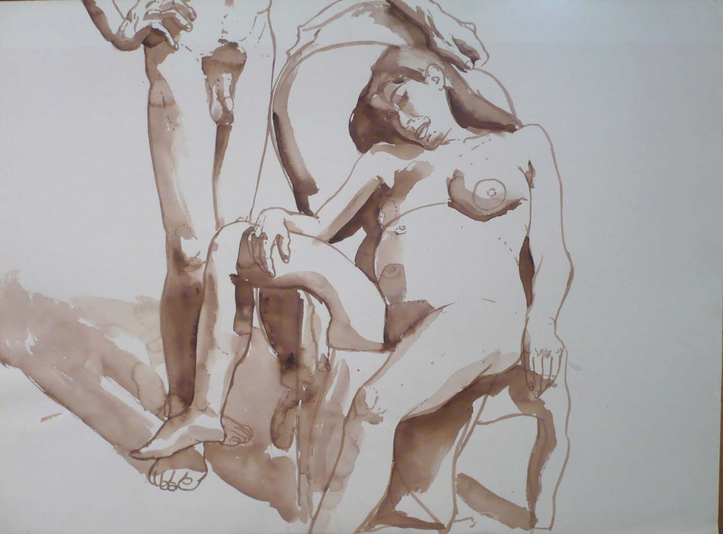 "Male Model Standing and Female Model Seated in Chair Sepia 22"" x 29.875"""