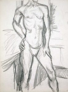 Male Model Standing in Studio Pencil 13.875 x 10.875