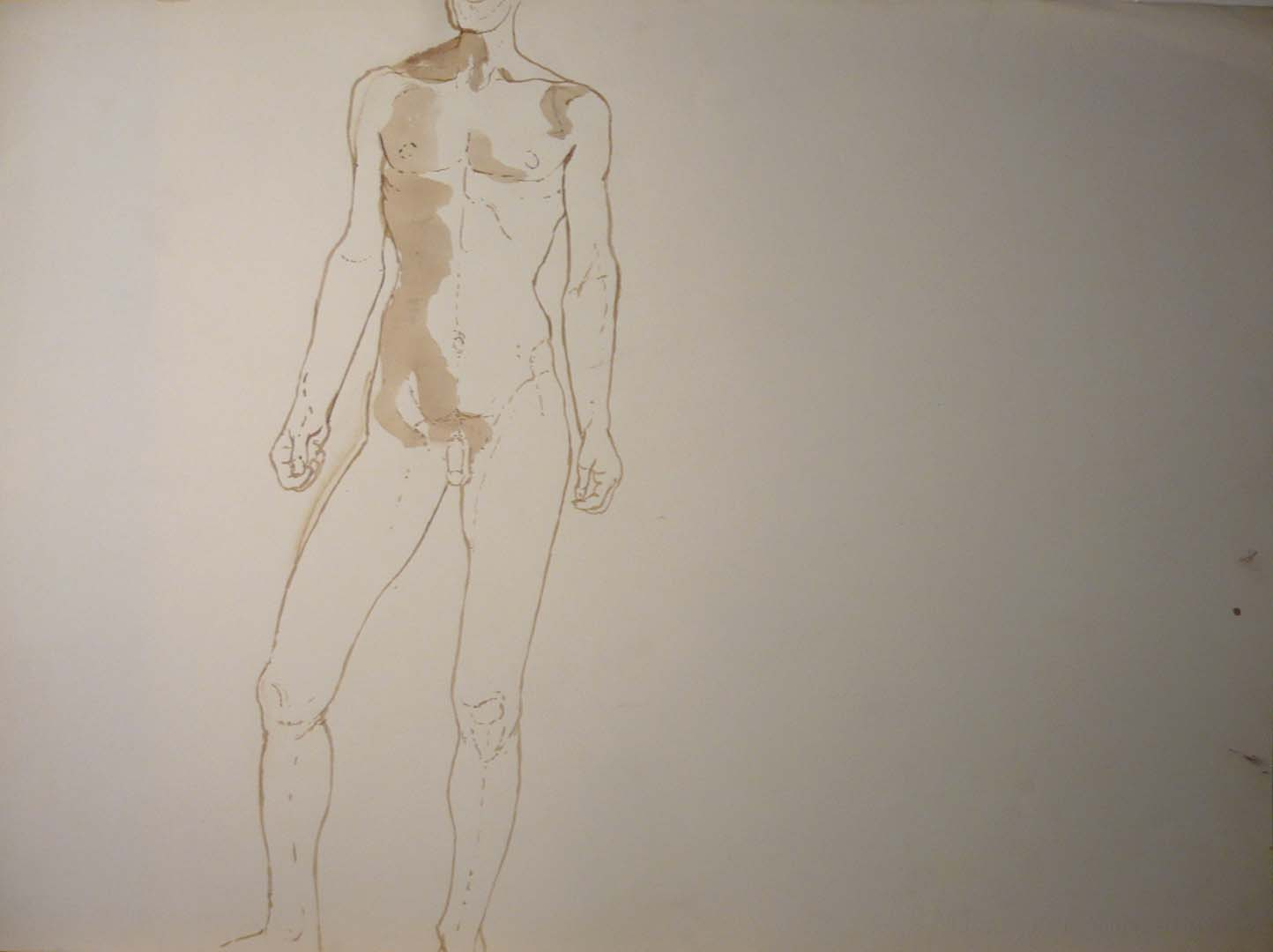 "Male Model Standing in Studio Sepia 22"" x 29.875"""