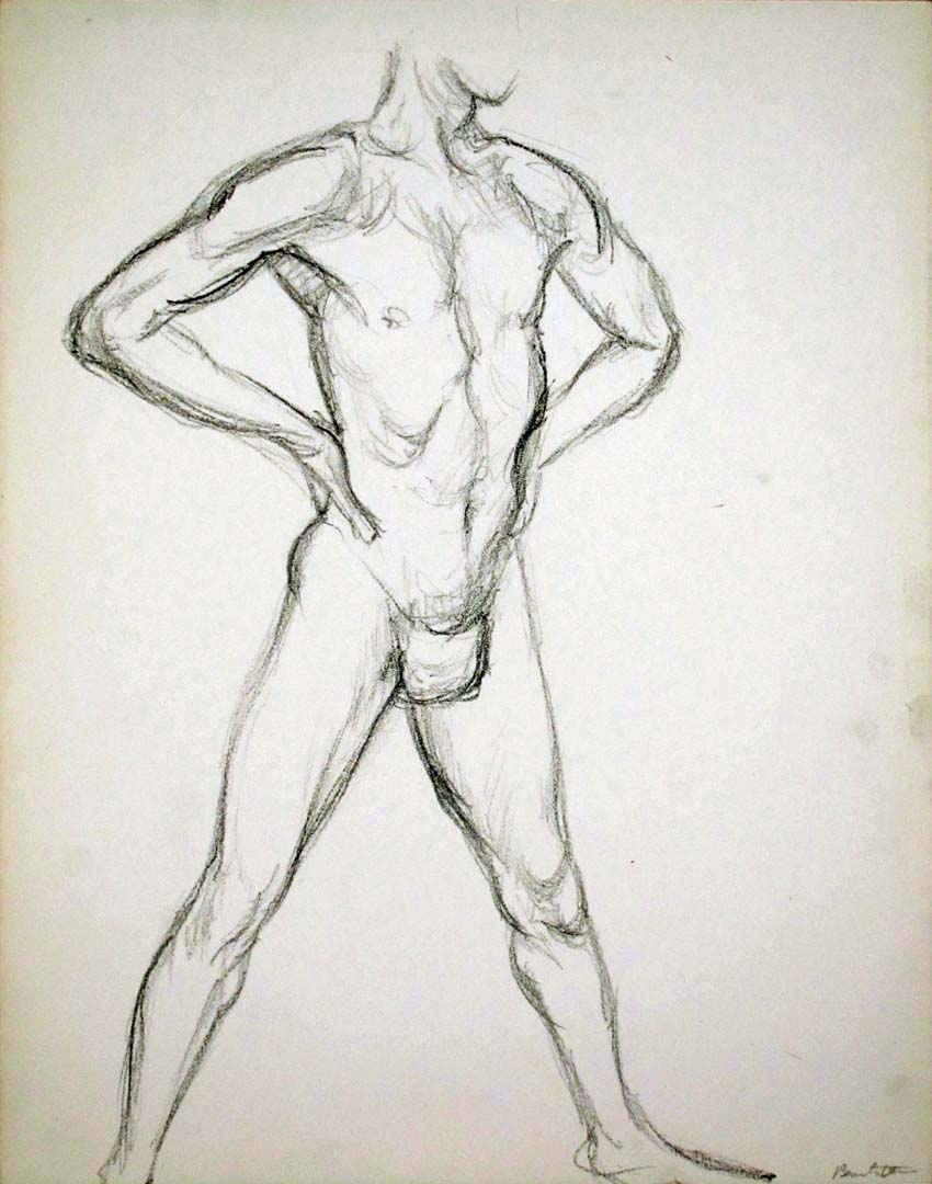 """Male Model Standing with Hands on Hips Pencil 13.875"""" x 10.875"""""""