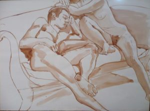 Male Model and Female Model Seated on Sofa Sepia 14.875 x 20