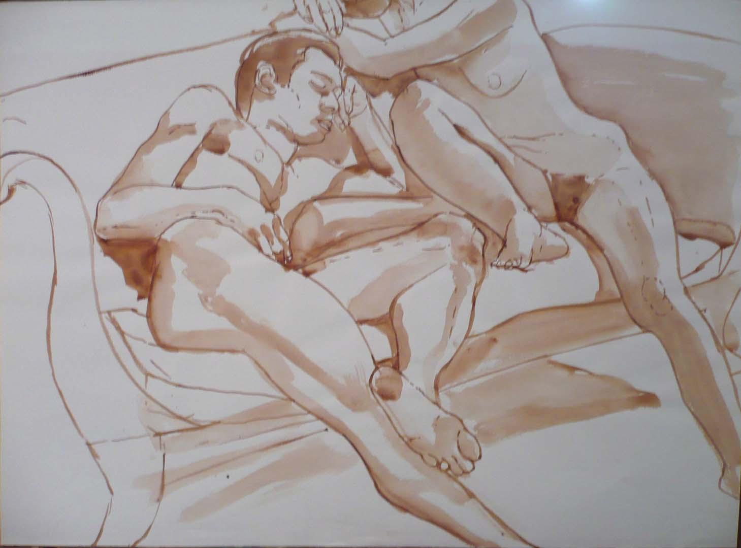 Male Model and Female Model Seated on Sofa Sepia 14.875 x 20