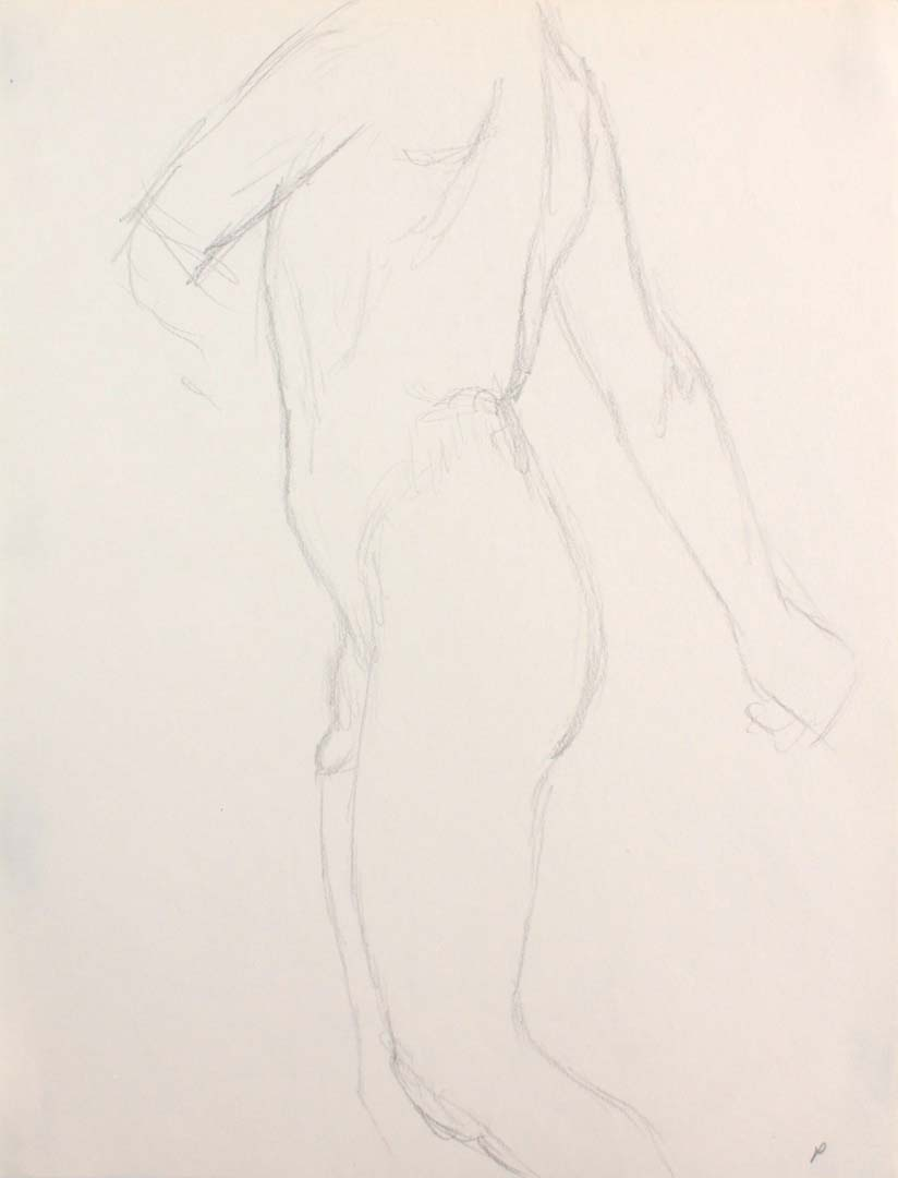 Male Nude Twisting Pencil 12 x 9
