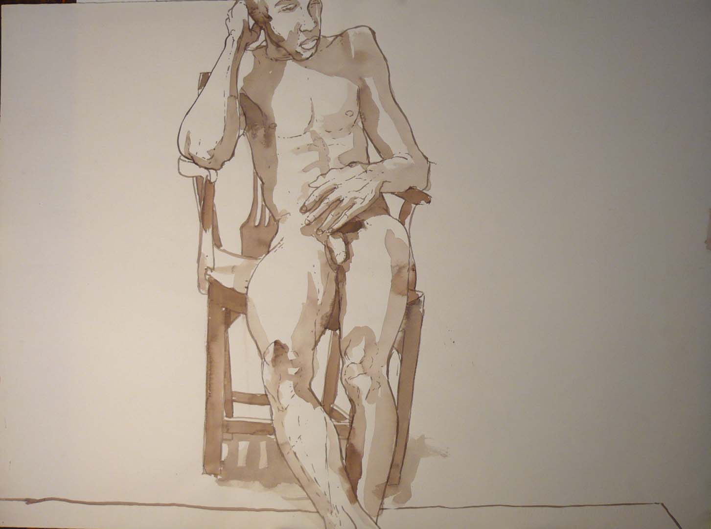 Male Seated in Chair #2 Sepia 27.25 x 20.5
