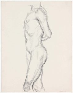 Male Standing with Arm Behind back Pencil 13.875 x 10.875