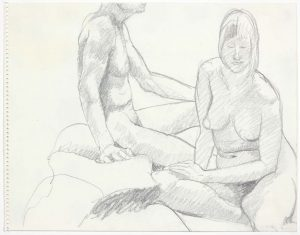 Male and Female Models Seated Pencil 11 x 14