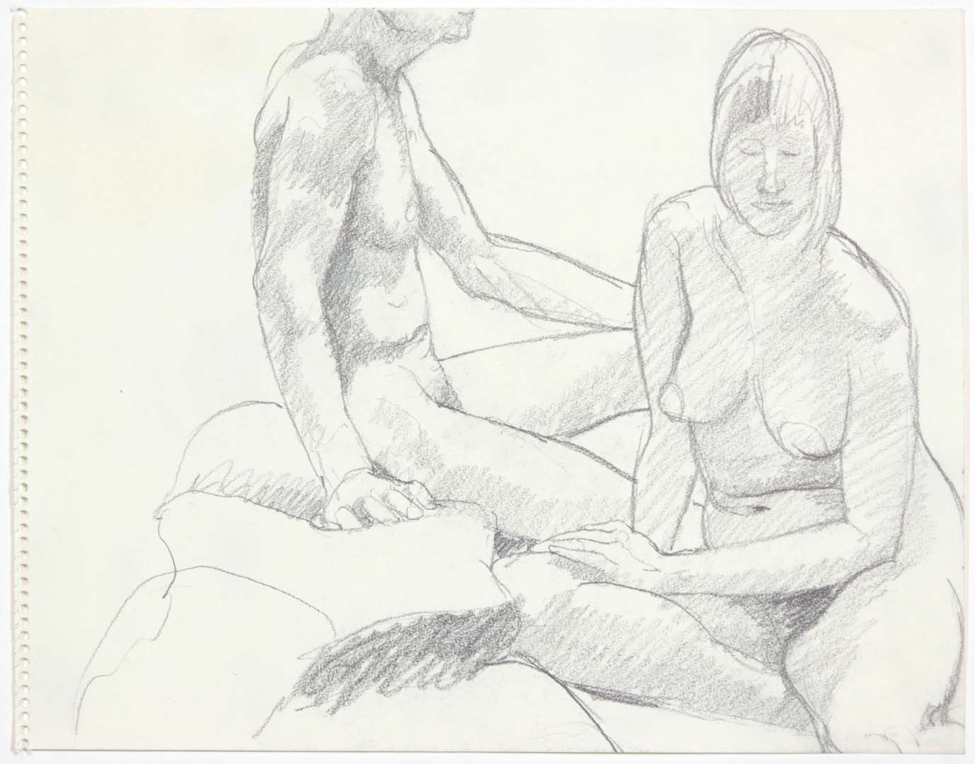 "Male and Female Models Seated Pencil 11"" x 14"""