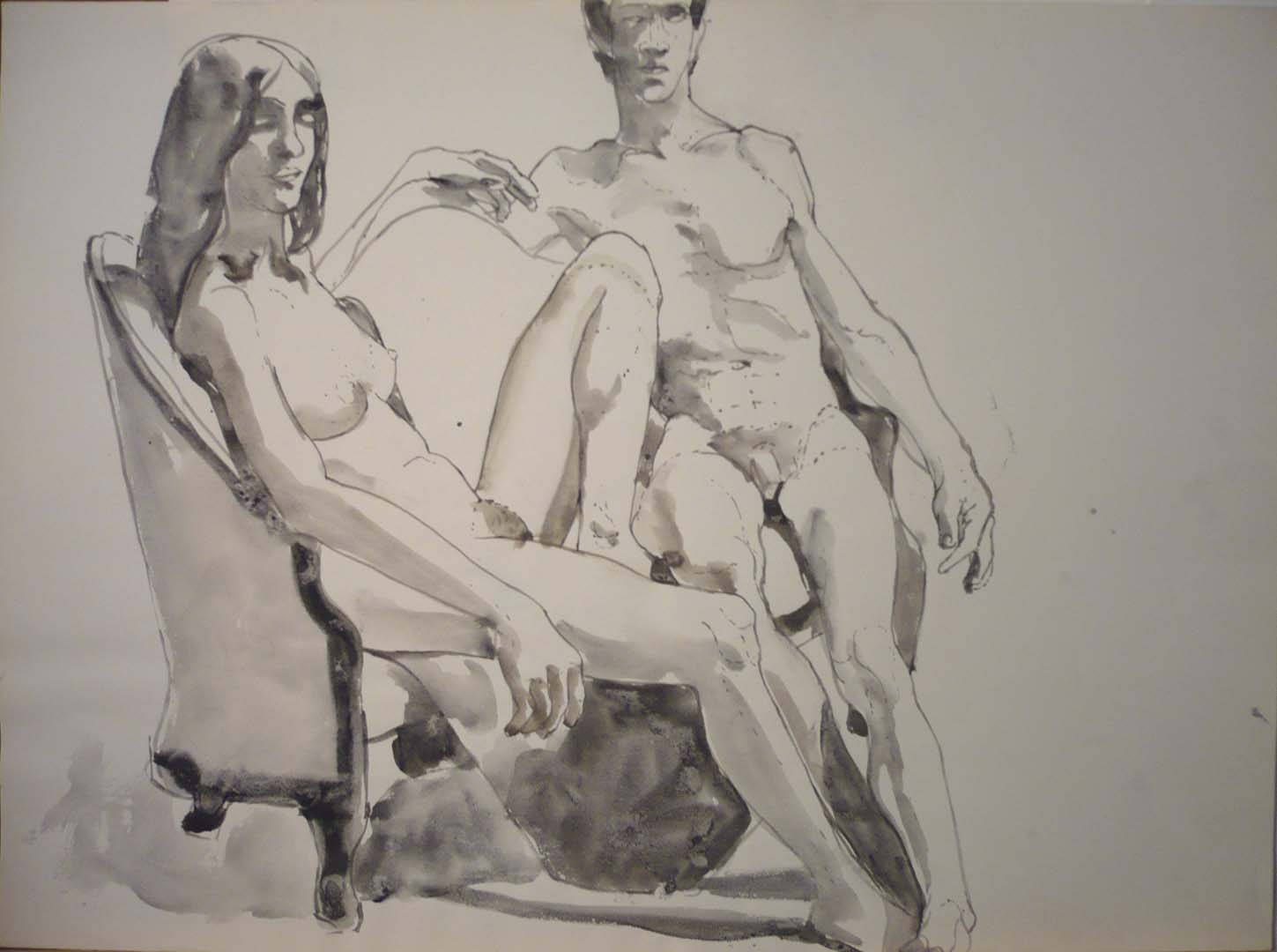 Male and Female Models Sitting on Sofa Watercolor 22 x 29.75
