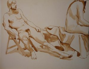 Male and Female Models and Folding Chair Sepia 20 x 25.75