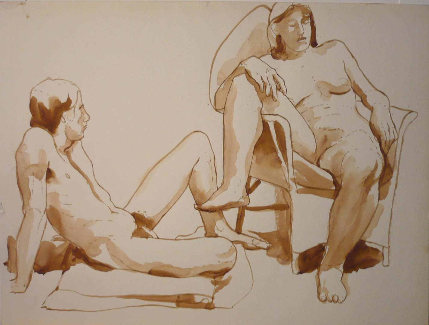 "Male and Female Models with Chair Sepia 17.375"" x 22.875"""