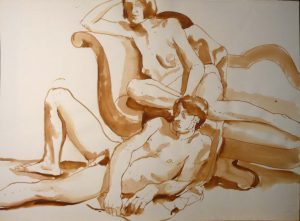 Male and Female Models with Sofa Sepia 22 x 29.875