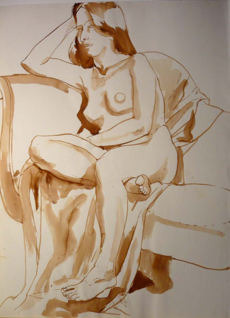 "Nude Resting Head on Hand Sepia 30"" x 22"""