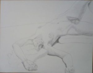 Outstretched Female Model with Arm Overhead Pencil 19 x 24