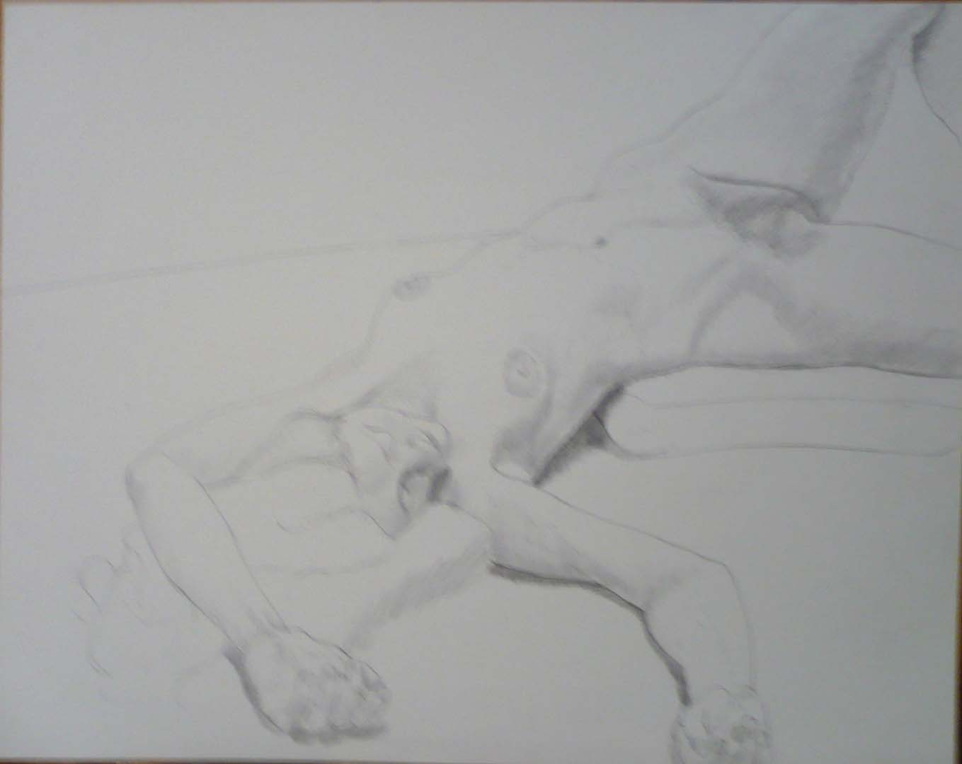 "Outstretched Female Model with Arm Overhead Pencil 19"" x 24"""