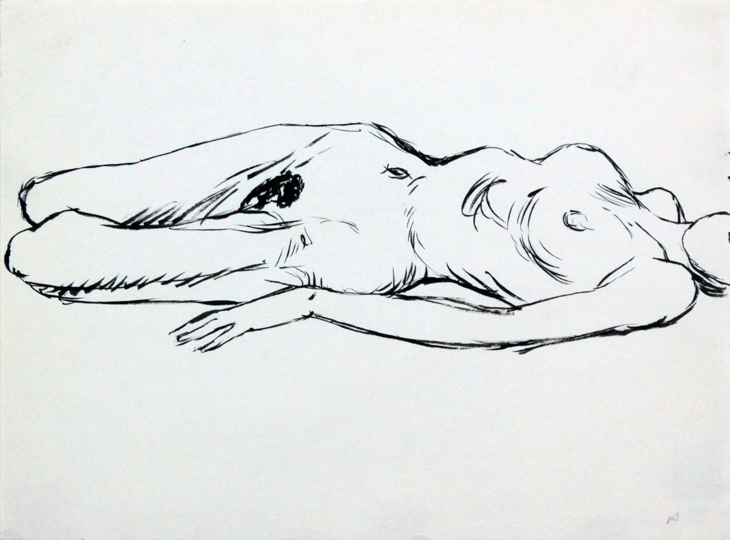Reclined Female Model Ink 9 x 12
