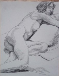 Reclined Female Model Pencil 11 x 14