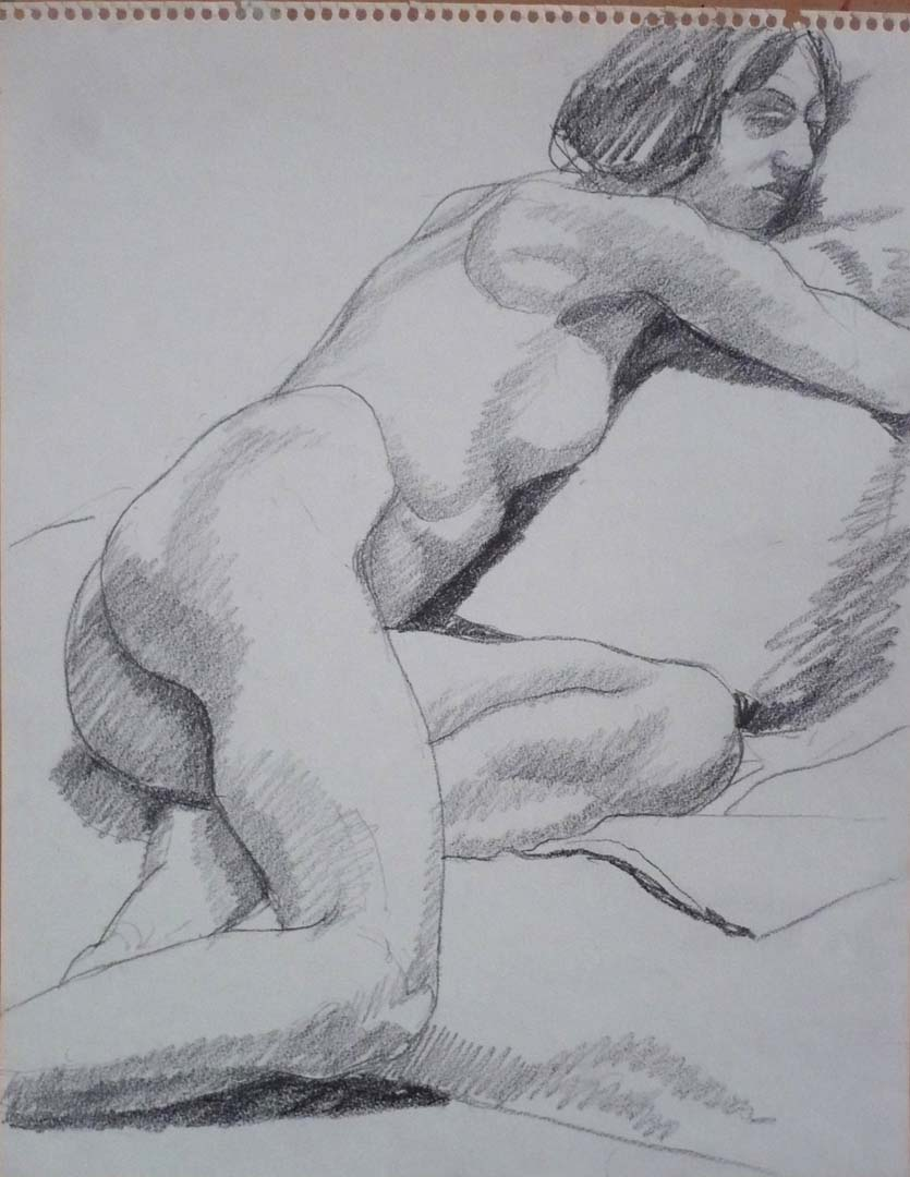 "Reclined Female Model Pencil 11"" x 14"""