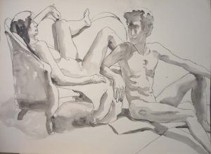 Reclined Female Model and Leaning Male Model with Sofa Watercolor 22 x 29.875