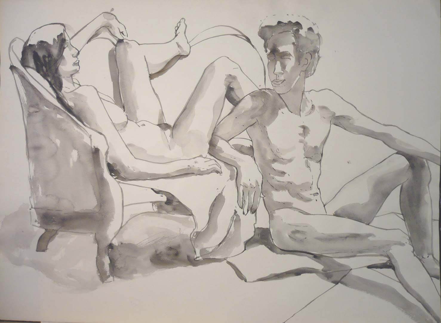 "Reclined Female Model and Leaning Male Model with Sofa Watercolor 22"" x 29.875"""