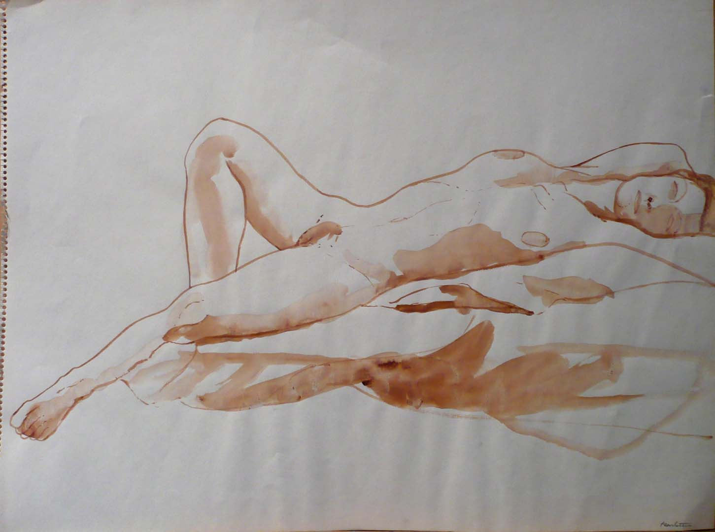 "Reclined Female Nude Sepia 18"" x 24"""