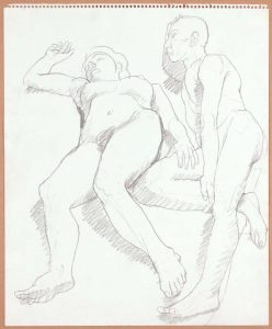 Reclined Female and Male Nudes Pencil 17 x 14