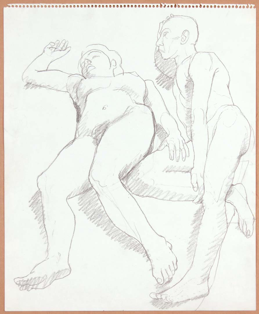 "Reclined Female and Male Nudes Pencil 17"" x 14"""