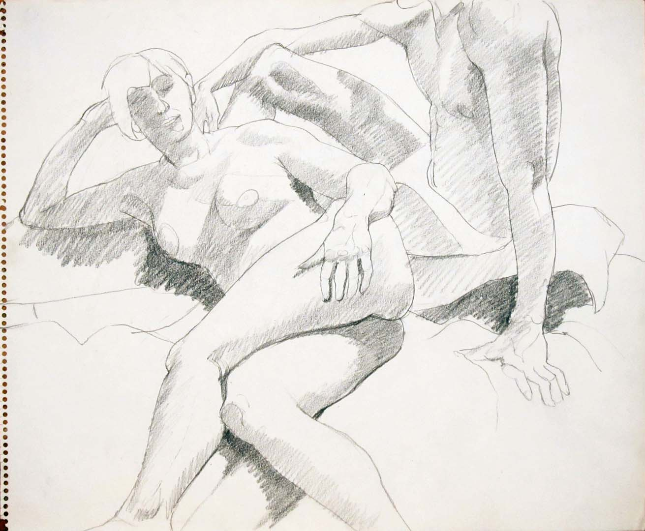 """Reclined Female and Seated Male Pencil 14"""" x 17"""""""