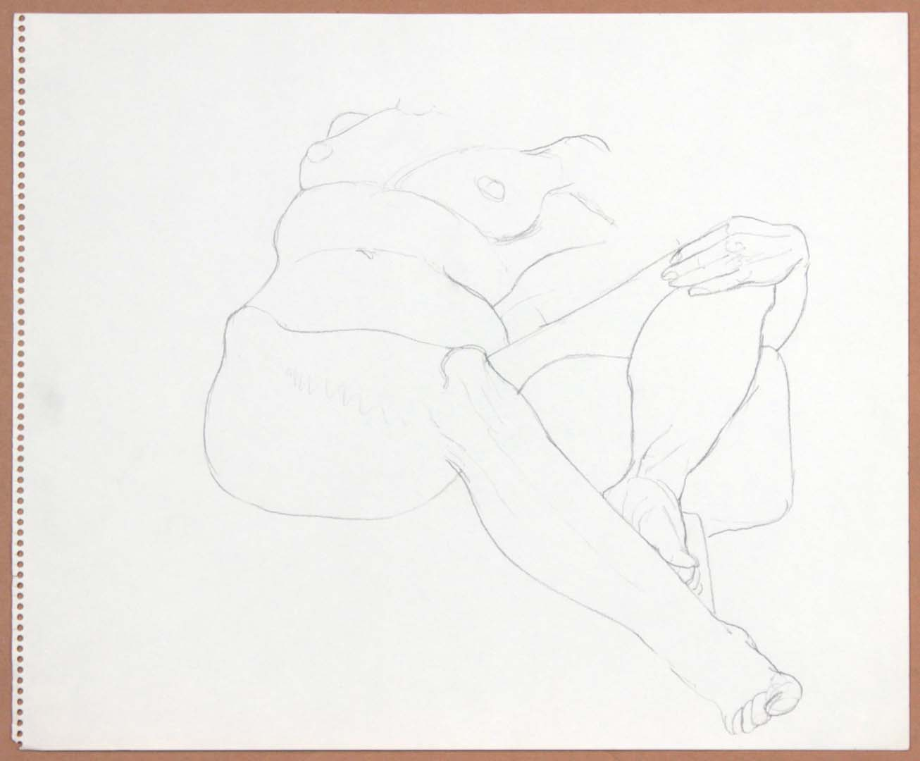 "Reclined Female with Leg Raised Pencil 14"" x 17"""