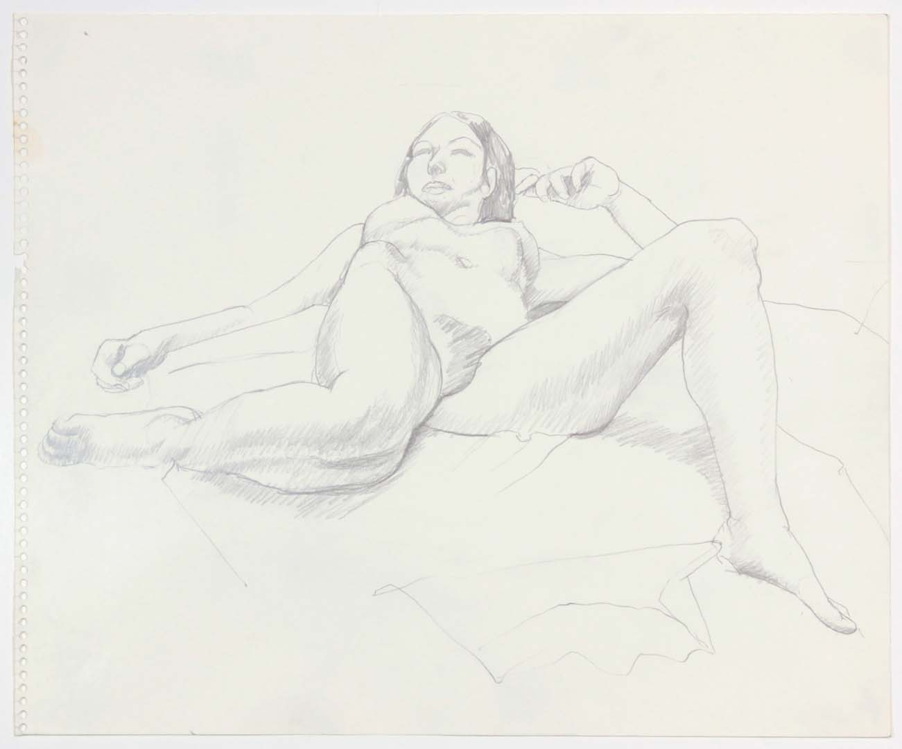 Reclined Female with Right Leg Bent Back Pencil 13.875 x 17