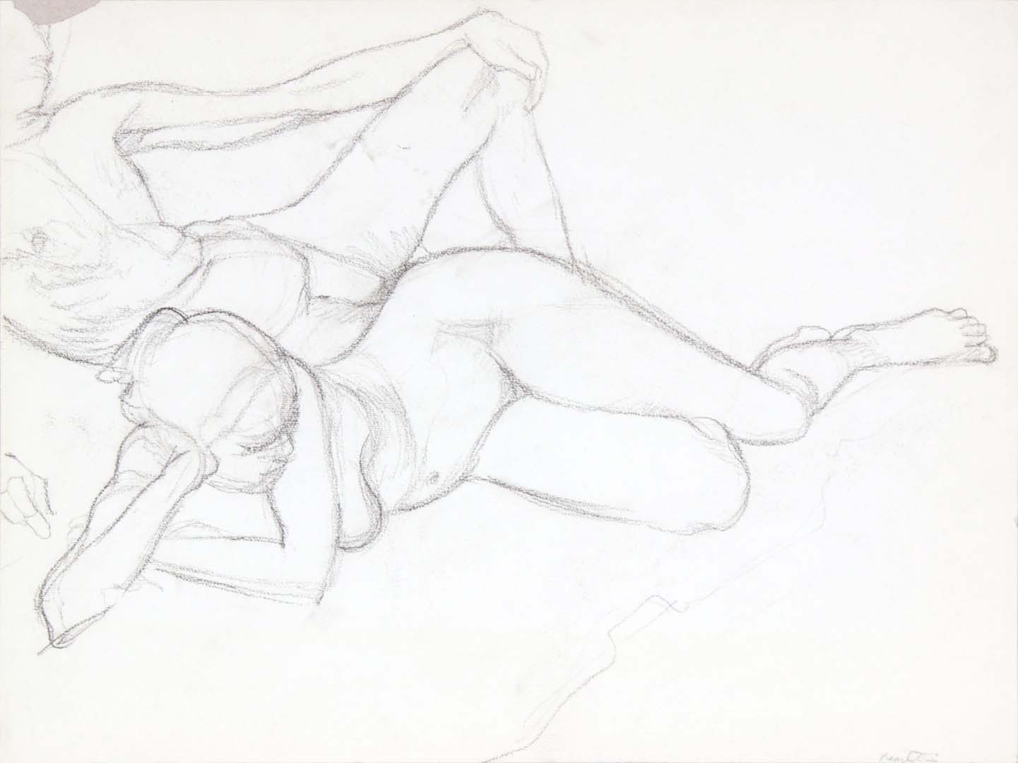 """Reclined Male and Female Modes Graphite 14.875"""" x 20"""""""