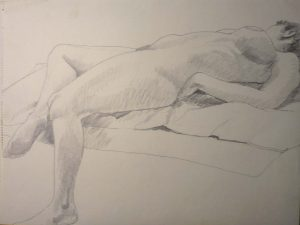 Reclining Female Nude Pencil 18 x 44