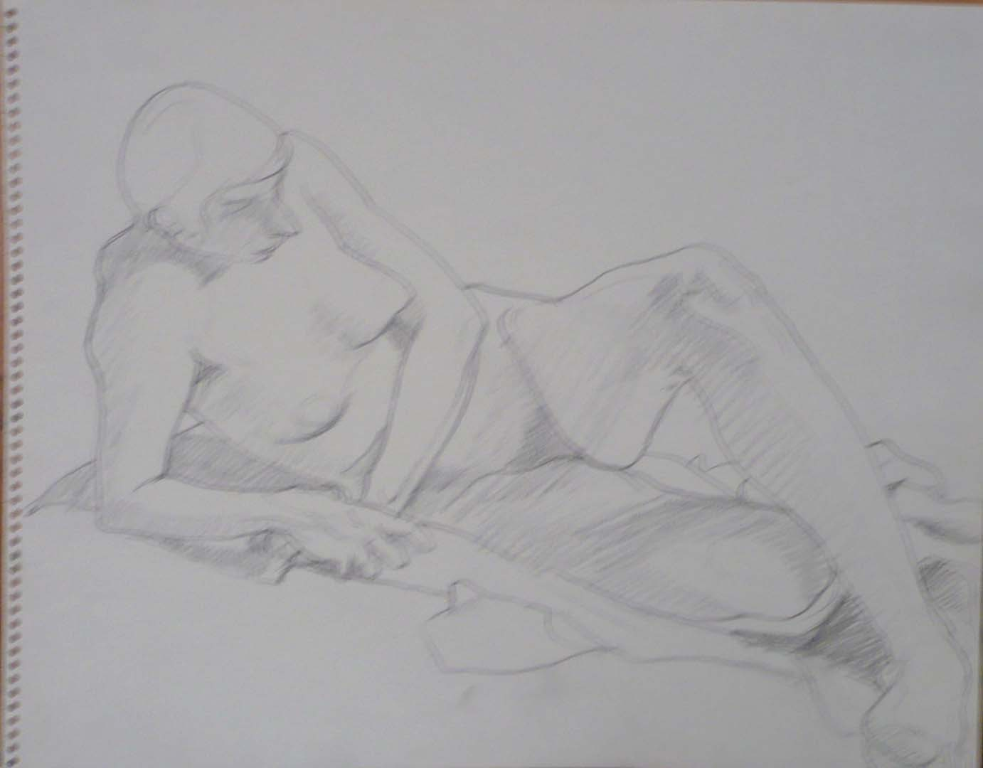 "Reclining Female Nude Pencil 11"" x 14"""