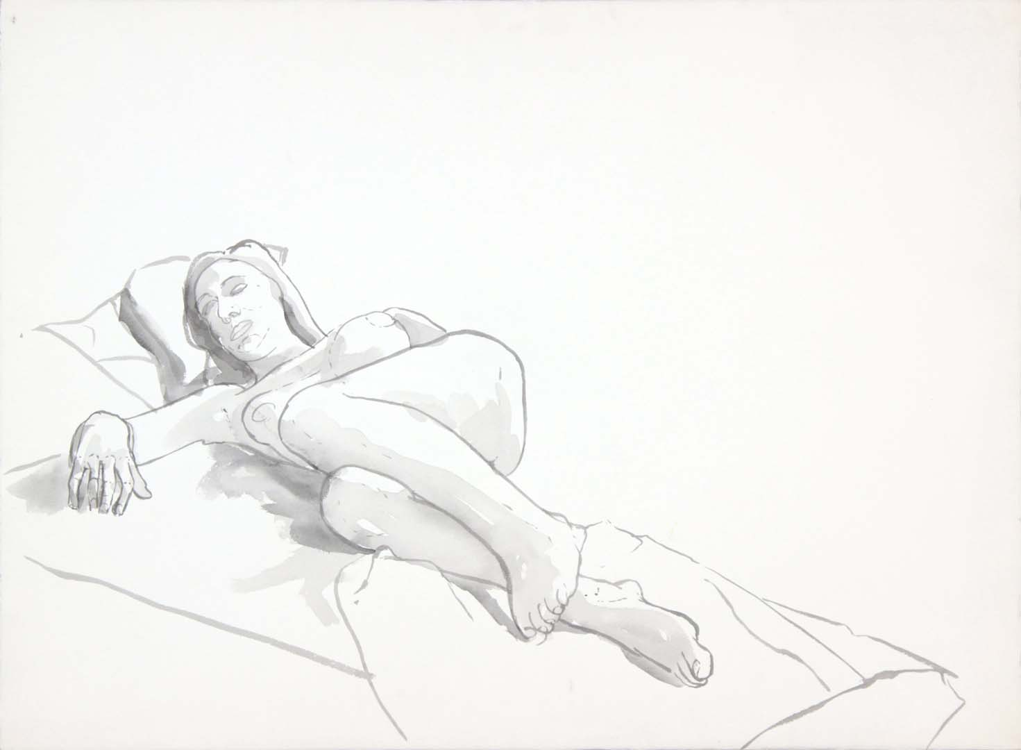 "Reclining Female with Leg Bent Wash 22"" x 29.875"""