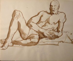 Reclining Male Model Sepia 14 x 17