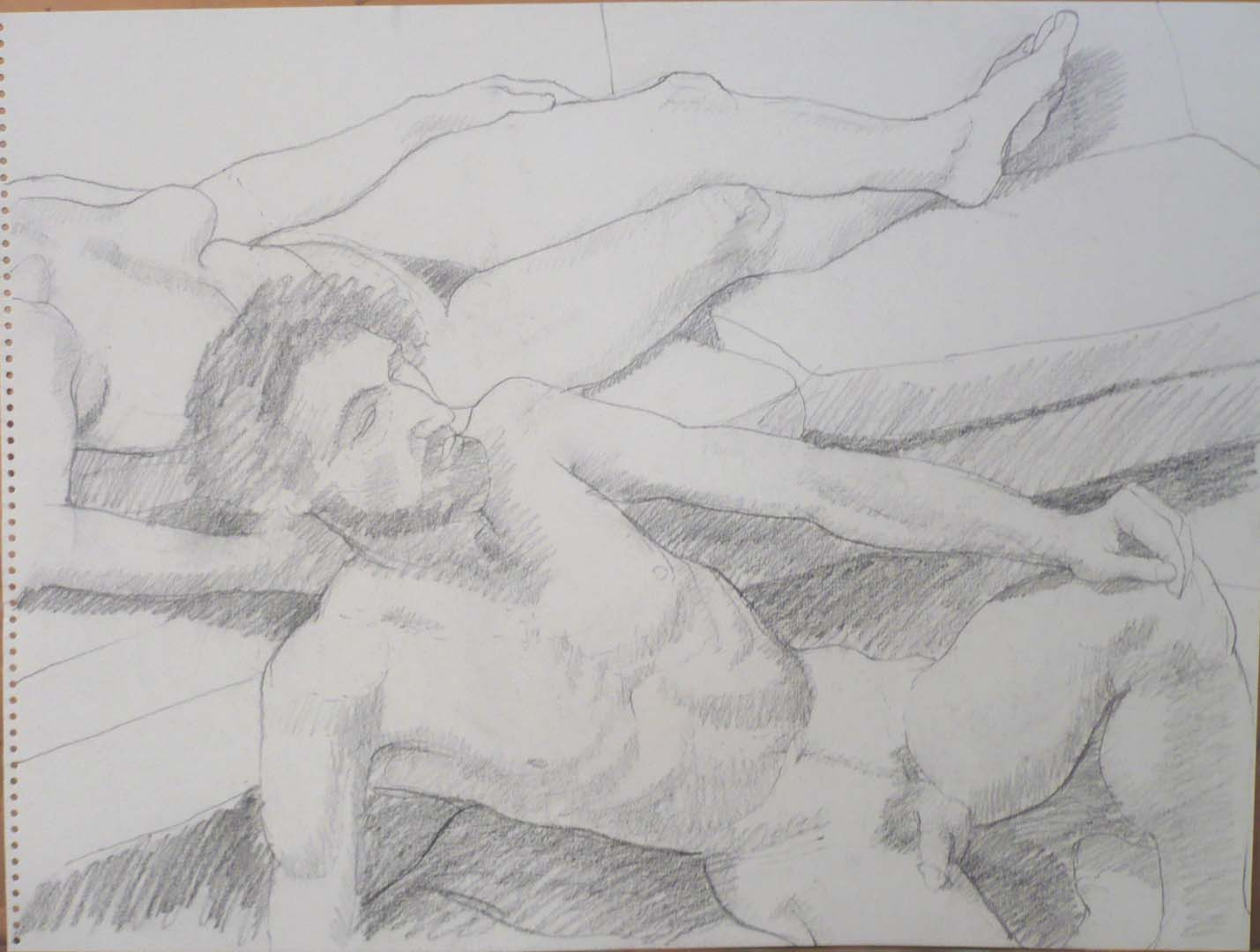"Reclining Male and Female Models Pencil 18"" x 24"""