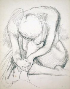 Seated Female Leaning Forward Pencil 13.875 x 10.875