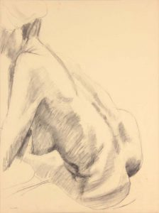 Seated Female Model Twisted Graphite 24 x 17.75