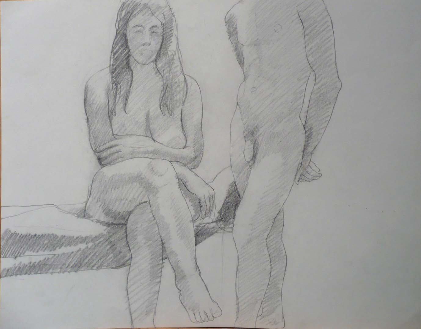 "Seated Female Model and Standing Female Model Pencil 18.875"" x 24"""